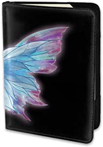 Bule Purple Butterfly Passport Cover Holder Leather Case Travel One Pocket Card Cover