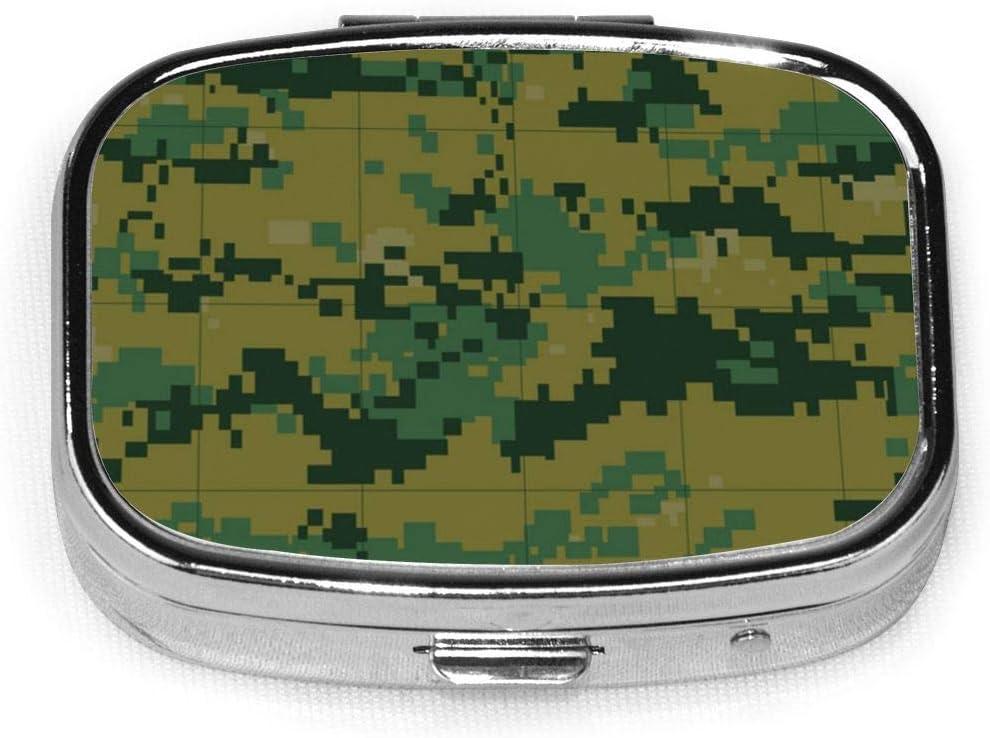 Caja de pastillas cuadrada plateada de moda personalizada enlosable de camuflaje militar, soporte para tableta de medicina, estuche organizador para bolsillo