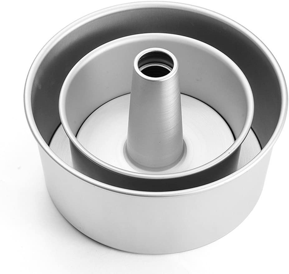 GDGY Aluminum Alloy Round Hollow Chiffon Cake Mold Angel Food Cake Pan Baking Mould with Removable Bottom (8inch)