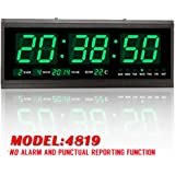 Green Digital Large Big Digits LED Wall Desk ALARM Clock with Calendar Temperature US #4819