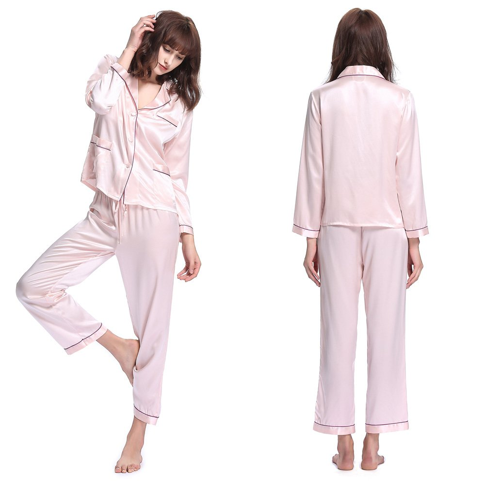 Light Pink LilySilk Silk Pajamas for Women with Contrast Trimming