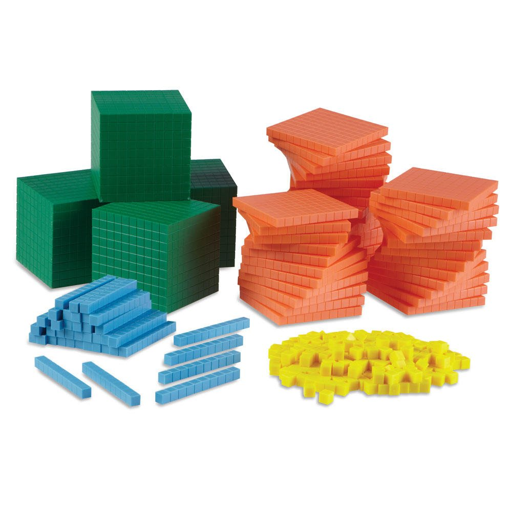 hand2mind Differentiated Base Ten Blocks, Class Set of 488, Includes 4 Base Ten Place Value Mats by hand2mind