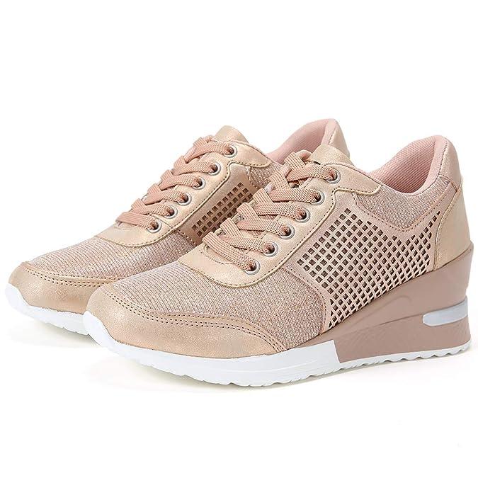 43041236e Zapatillas Deportivas Plataforma Cuña para Mujer - ANJOUFEMME Zapatos Wedge  Sneakers Mujer