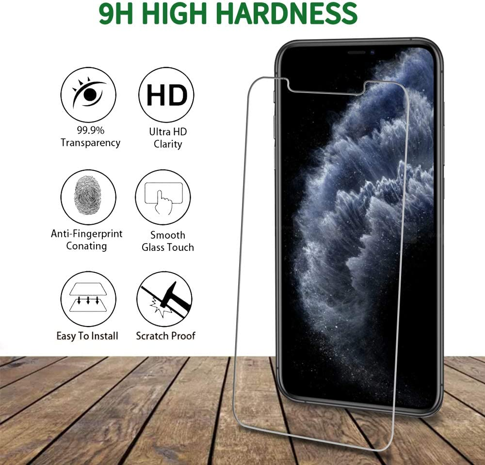 Bubble Free 9H Hardness HD Transparent Scratch-Resistant 4 Pack QHOHQ 2 Pack Tempered Glass Screen Protector +2 Pack Tempered Glass Camera Lens Protector for Apple iPhone 11 Pro 5.8 ,