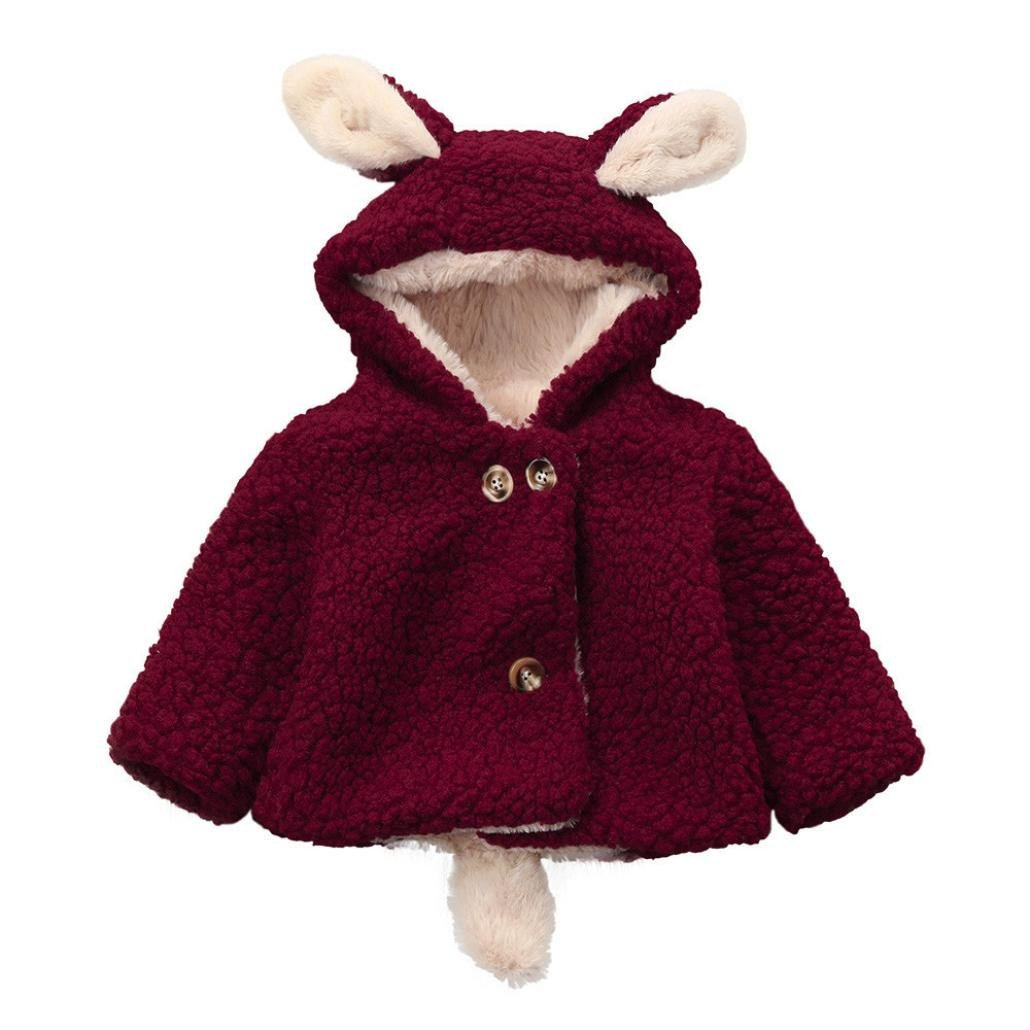 Baby Infant Winter Cute Ears Hooded Hoodies Cotton Coat Cloak Jacket Thick Warm Clothes Outwear (18 Months, Red)