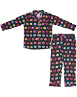 Bottoms Out Women's Black Macaroon Flannel Pajamas