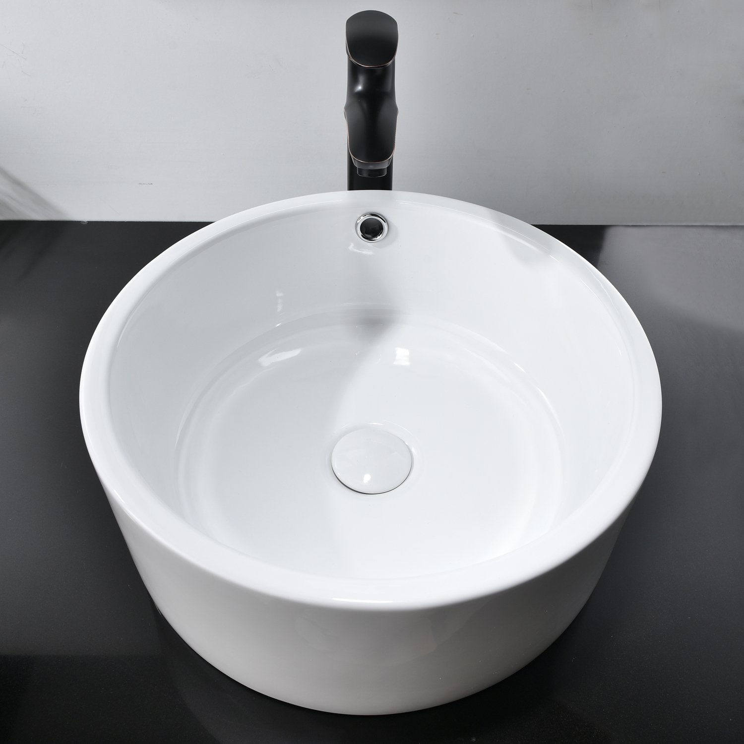 Hotis White Porcelain Ceramic Countertop Bowl Lavatory Round Above Counter Vanity Bathroom Vessel Sink by HOTIS HOME (Image #2)