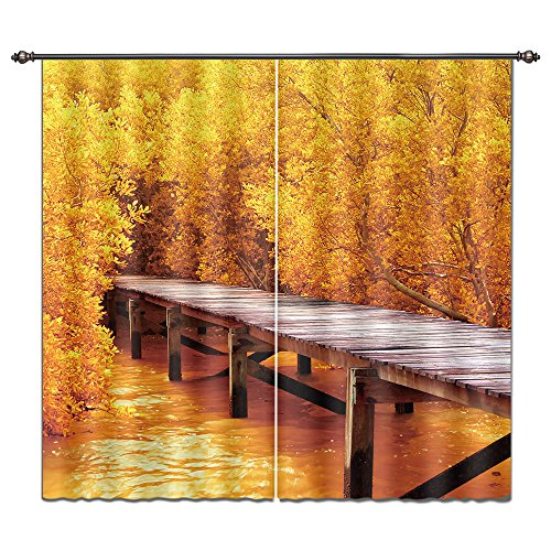 LB Nature Scenery Lanscape Autumn River 3D Window Curtain Drapes by, Gold Woods Bush Leaf Rustic Wooden Plank Pier, Living Room Bedroom Decorations, 55×65 Inches (2 Panels Size), Orange Review