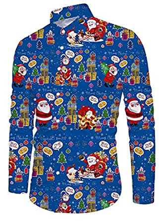 Funnycokid Adolescentesagers Chicos Ugly Christmas Camisa Impreso Animal Manga Larga Vendimia Featival Fiesta Estilo Hombres Navidad Ugly Christmas Camisas