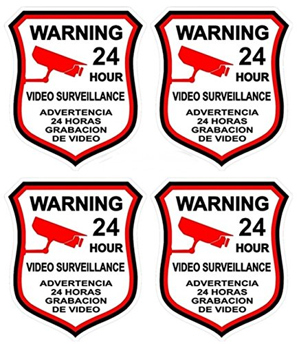4 Pcs Classical Popular Video Surveillance Sticker Sign Home Warning 24 Hour CCTV Alarm Decal Size 3