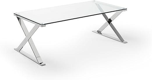 DUGARHOME - Mesas de Centro Modernas - Mesa Acero/Cristal (120x60 ...