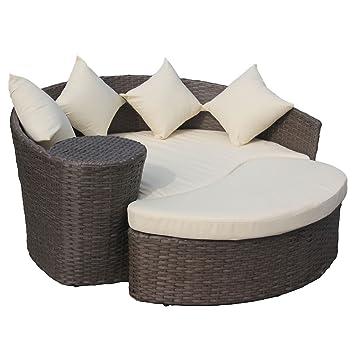 Gartensofa mit Hocker - Halbrunde Lounge-Insel - Polyrattan - Braun ...