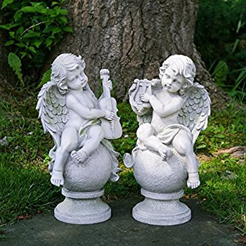"""Northlight Set of 2 Cherub Angels with Instruments Sitting on Finials Outdoor Garden Statues 14.75"""""""