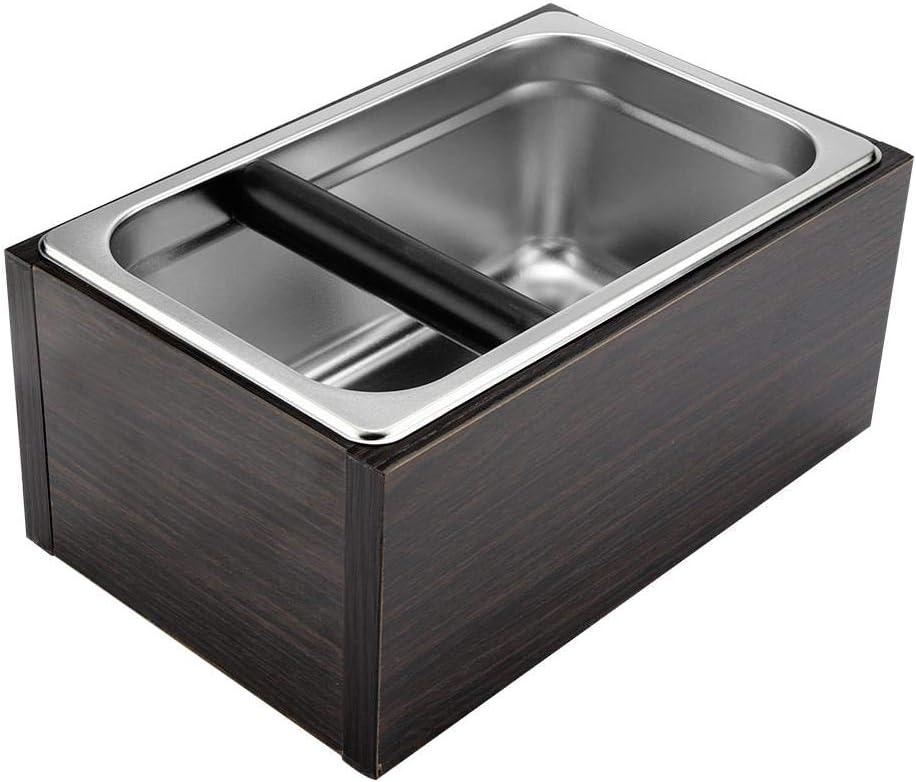 Caf/é Knock Box en acier inoxydable Espresso Knock Box Container pour le caf/é moulu poubelle