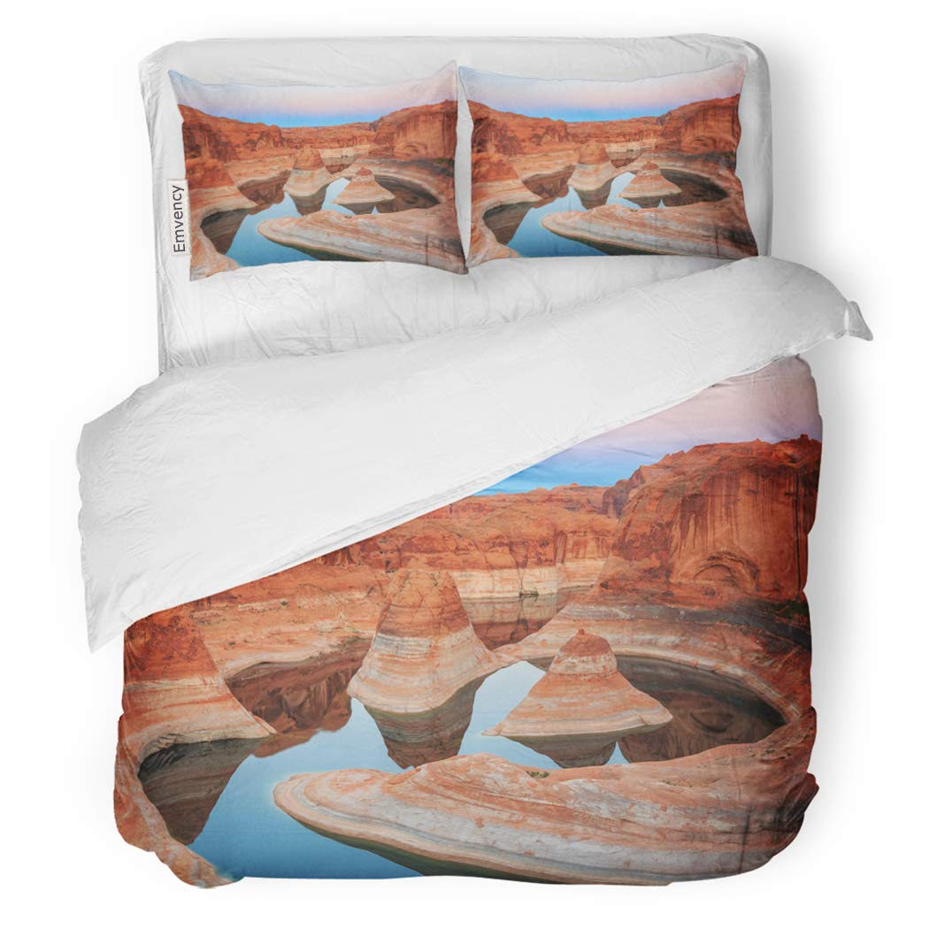 SanChic Duvet Cover Set Blue Amazing Reflection Canyon on Lake Powell Utah Usa Orange America Arizona Decorative Bedding Set with 2 Pillow Shams Full/Queen Size