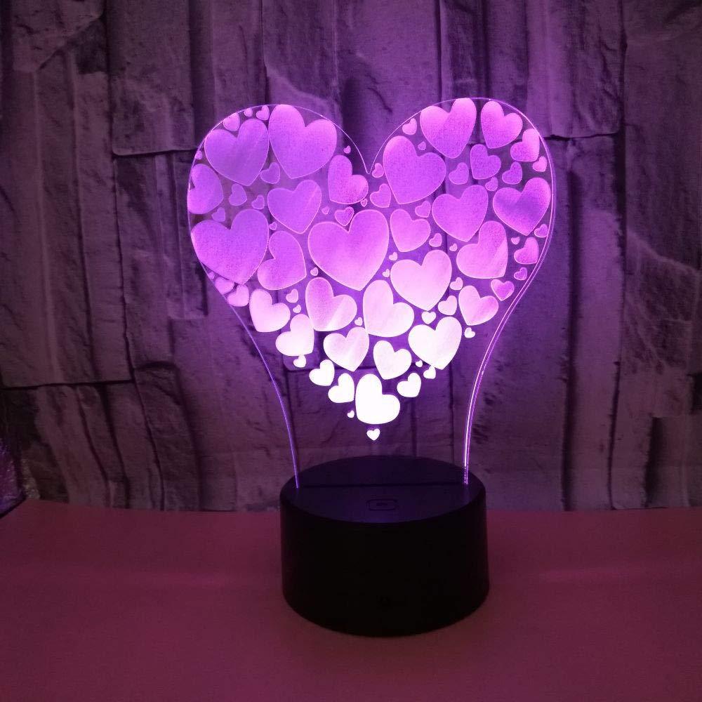 Visor 3D 3D 3D en forma de corazón Lámpara de noche con luz nocturna Mesa de base Lámparas de ilusión óptica 7 Cambio de color Usb o Batería Luces en el dormitorio Decoración del hogar Niños Regalo 5b1b36