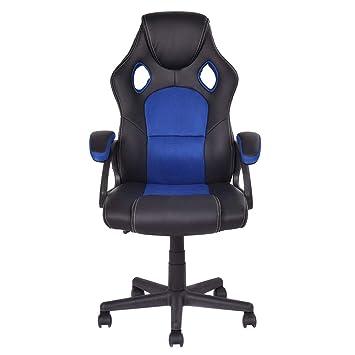 COSTWAY Racing Silla de Oficina Ordenador Gaming Escritorio Silla Giratoria Ergonómica Altura Ajuste con Ruedas Carga Máxima 120kg (Azul y negro): ...