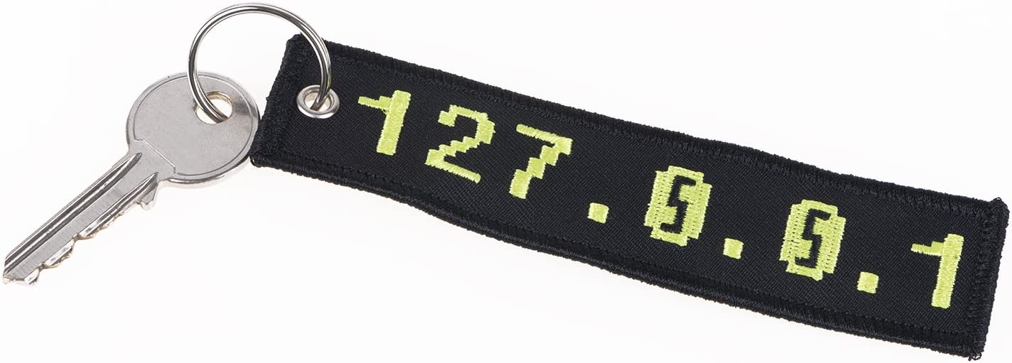 Ip Adresse 127 0 0 1 Localhost Bestickter Schlüsselanhänger In Schwarz Gelb Das Synonym Für Zuhause Für It Admins Programmierer Nerds Koffer Rucksäcke Taschen
