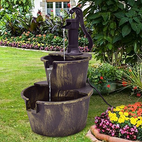 Giantex 2-Tier Barrel Water Fountain Rustic Wood Barrel Water Fountain w/Pump Outdoor Garden Decorative, 27 Inch Tall by Giantex (Image #1)
