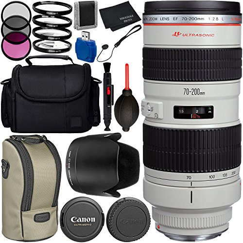 Canon EF 70-200mm f/2.8L USM Lens Bundle with Manufacturer Accessories & Accessory Kit for EOS 7D Mark II, 7D, 80D, 70D, 60D, 50D, 40D, 30D, 20D, Rebel T6s, T6i, T5i, T4i, SL1, T3i, T6, T5, T3, T2i (Canon Eos 7d Kit Best Price)