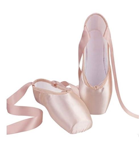YOGLY Zapatos de Baile de Ballet Zapatilla de Ballet Pointe Para Adulta Niña, Profesional Bailarina Zapatos con Correa de Satén, Puntera de Gel de Silicona: ...