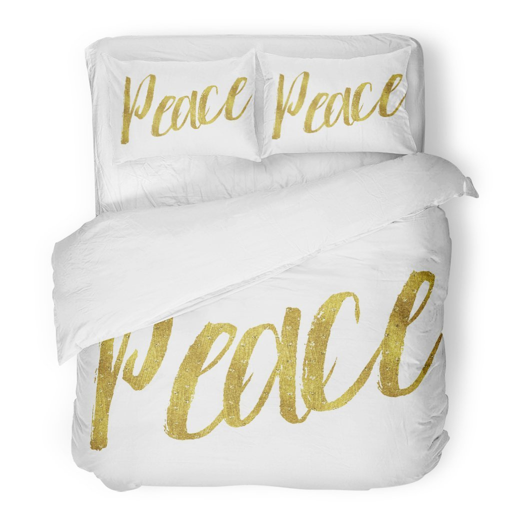 SanChic Duvet Cover Set Motivational Peace Gold Faux Inspirational Christmas Christian Quote White Decorative Bedding Set 2 Pillow Shams King Size