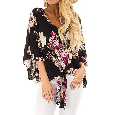 41025e595a3acc SEWORLD 2018 Damen Mode Sommer Damenmode Halbarm Chiffon Drucken T-Shirt  Bluse Tanktops(Schwarz