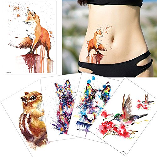 5 Sheets Watercolor Drawing Animal Body Tattoo Temporary Leg Back Art Sticker DIY -