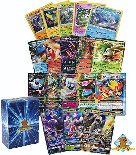 Pokemon Ultra Rare Mega GX Lot - 5 Holo Rares - 2 GX's - 2 EX's - 1 MEGA EX Ultra Rare! NO Duplication! Includes Golden Groundhog Deck Box! Photo - Pokemon Gaming