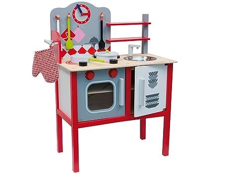 Teorema 40494 cucina giocattolo con accessori legno: amazon.it