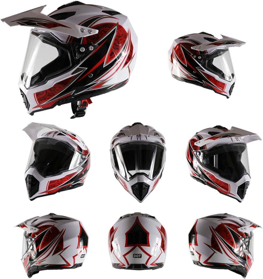 Sanqing Casco de Moto Cascos de Moto para ni/ños de la Juventud Casco de Descenso de Carretera de Motocross de Cara Completa con Casco de Visera Cuatro Estaciones Universal