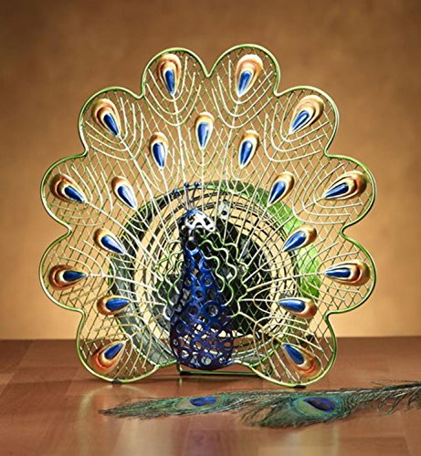 DecoBREEZE Peacock Figurine Fan Single-Speed Electric Circulating Fan