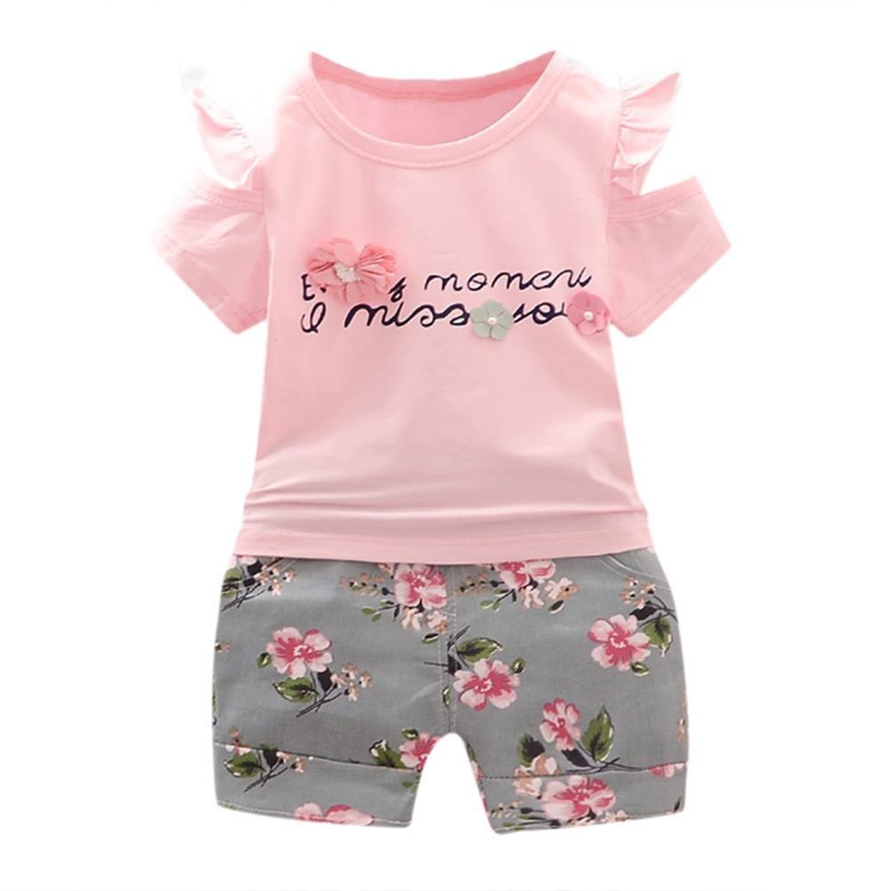 Diamondo 2pcs Casual Girls Clothes Set Summer Letters Floral Print T-Shirt Shorts