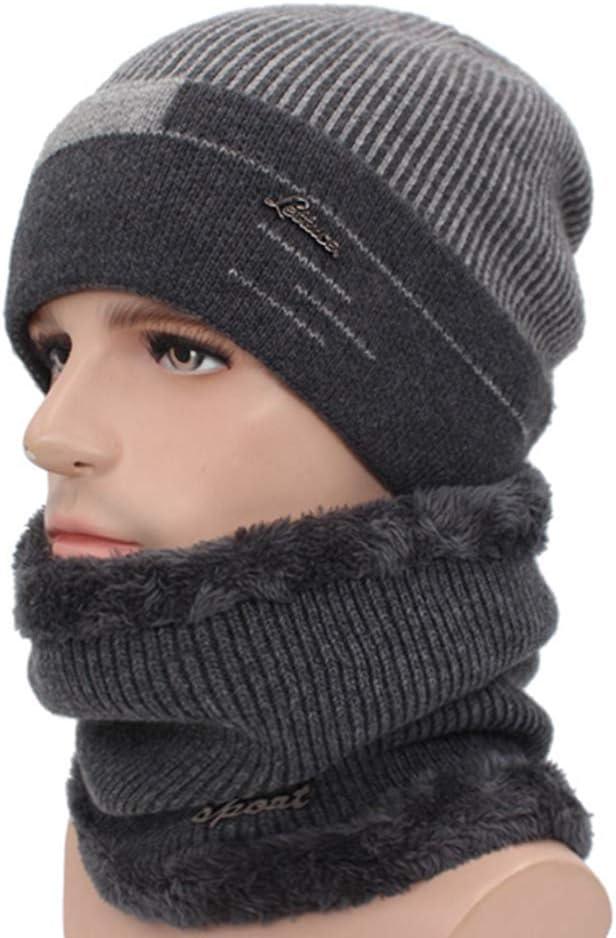 JKFXMN Sombrero De Invierno De Moda Bufanda para Hombre Sombrero De Punto Skullies Bonnet Unisex Warm Baggy Women Mask Beanie Grey