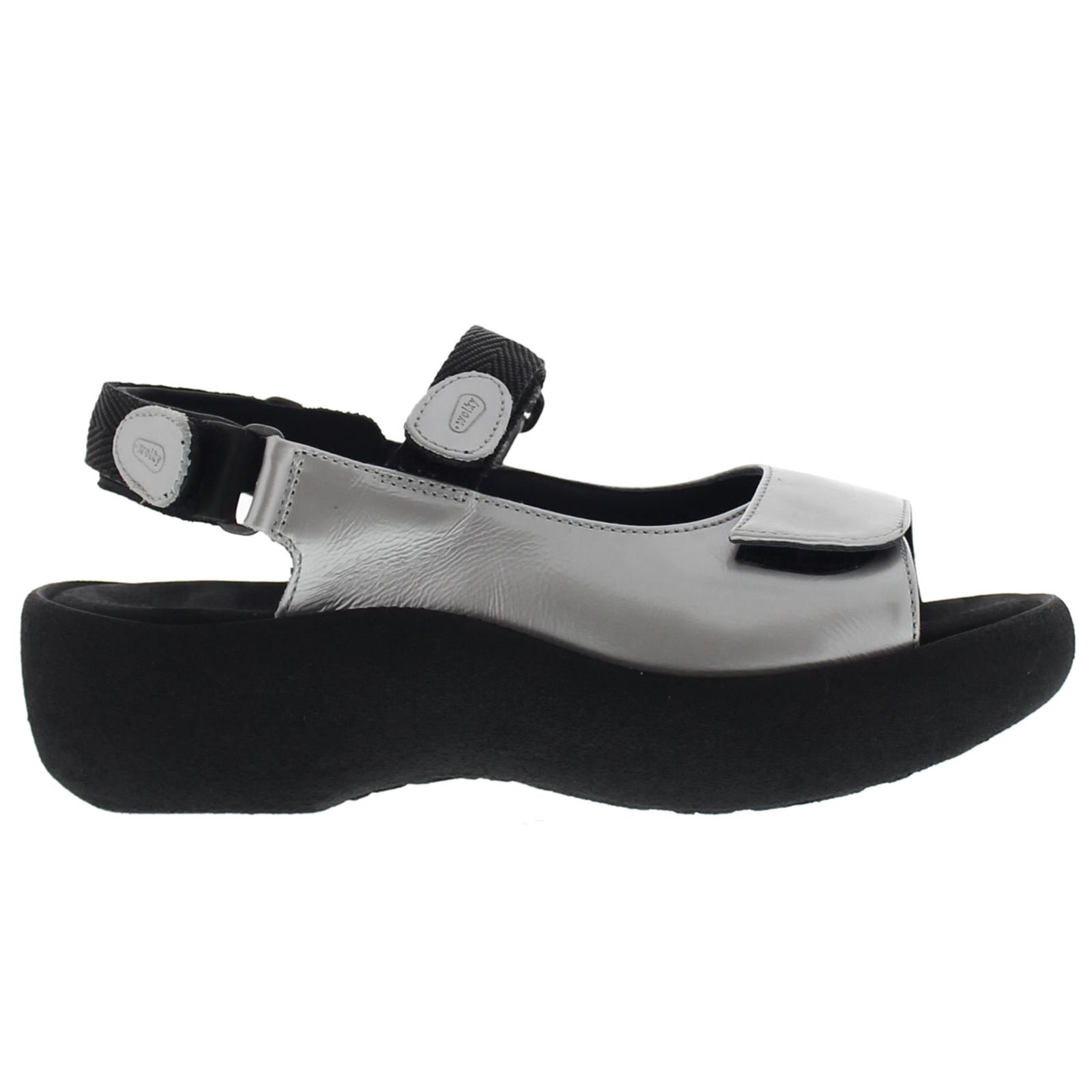 Wolky Comfort Sandals Jewel - 80200 Grey Patent Metallic Leather - 39