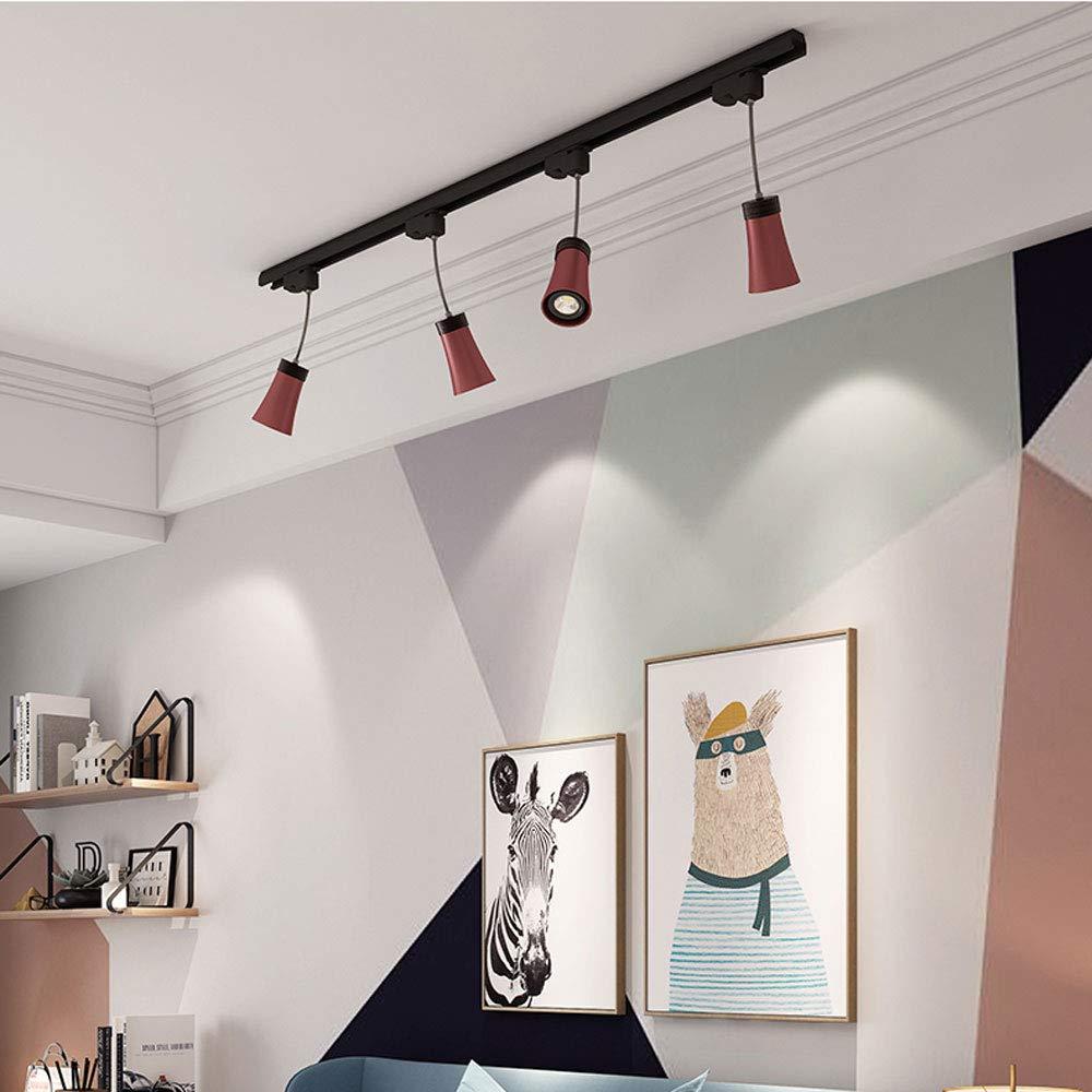 ZJⓇ Spotlight Track Light - Industrial Spotlight Track Lights LED Track Spot Lights - Red - 3/4 Heads - 10w && (Size : 4 Heads)