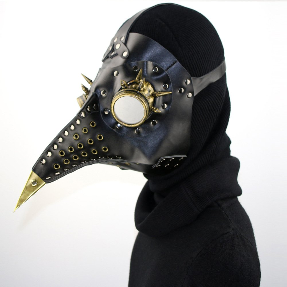 AWLLY Full Face Plague Doctor Uccello Maschera In Pelle Steampunk Naso Lungo Becco Faux Cosplay Halloween Natale Cosplay Masquerade Party Costume Puntelli