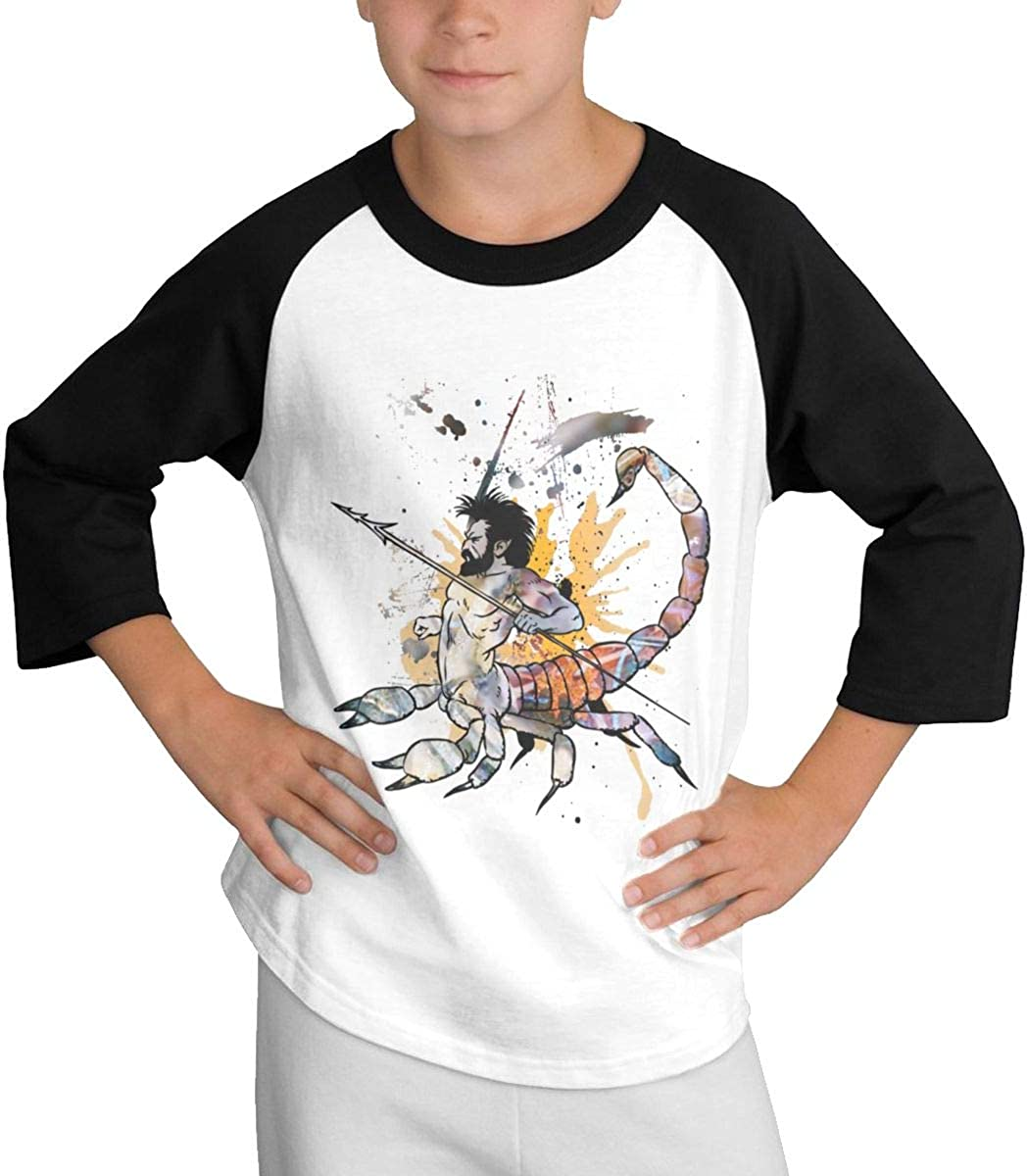 Qiop Nee Scorpio Man Doodle Raglan 3//4 Short-Sleeve T-Shirts Youth Girls Boys