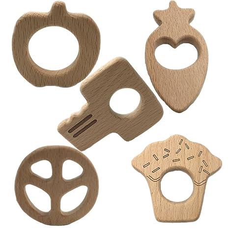 INCHANT Juguetes de madera natural del bebé Mordedor 5pack ...