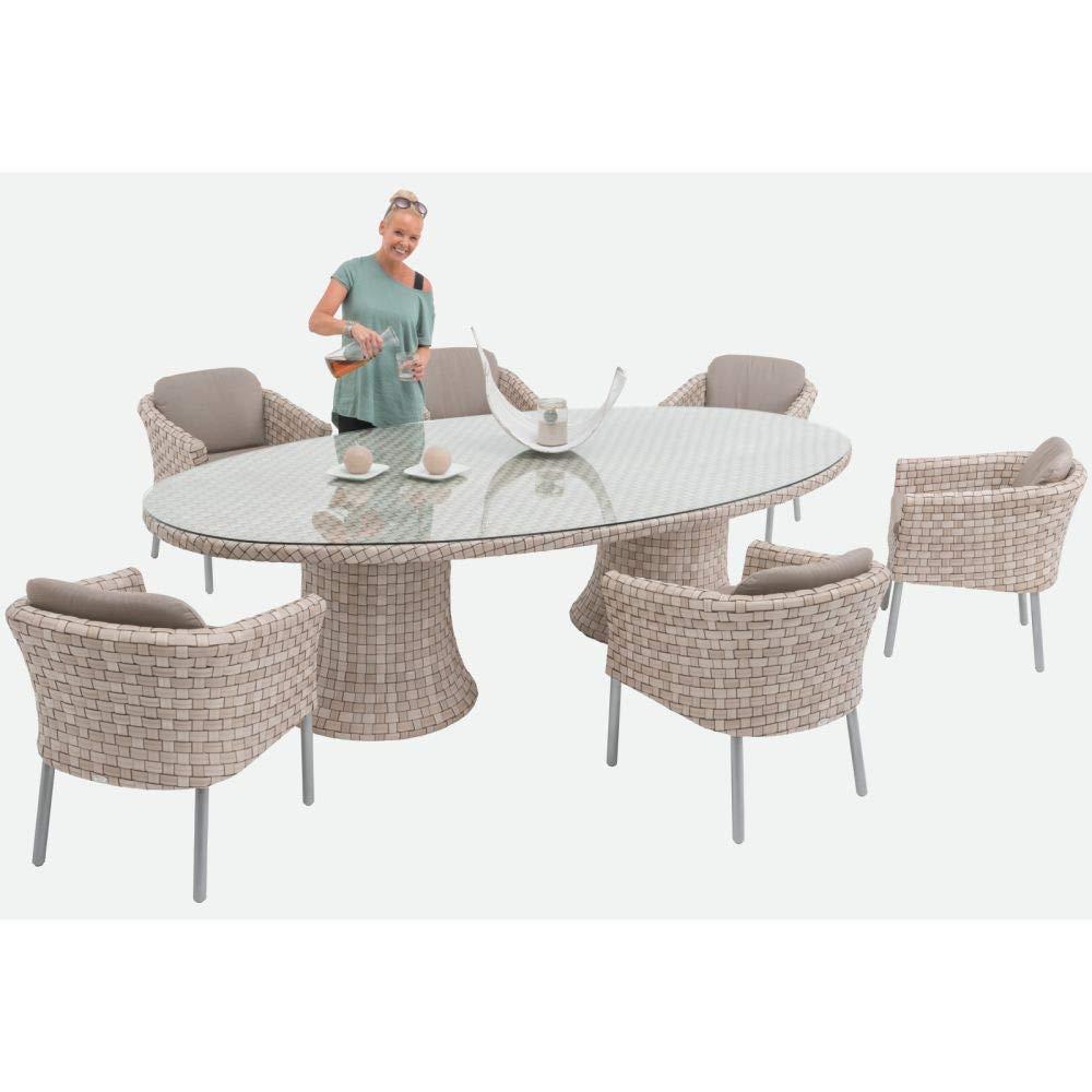 SKYLINE DESIGN® Florence Dining Lounge Set: 1x Tisch + 6X Armchair