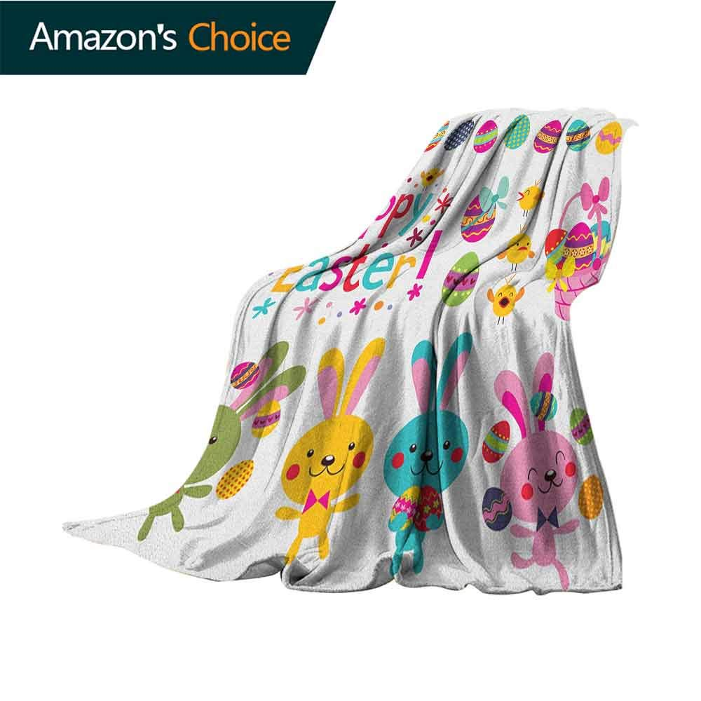 Easter Summer Blanket,Spring Season Holiday Themed Colorful Cartoon Bunnies Chicks and Eggs Illustration Super Soft Light Weight Cozy Warm Plush Hypoallergenic Blanket,60'' Wx80 L Multicolor
