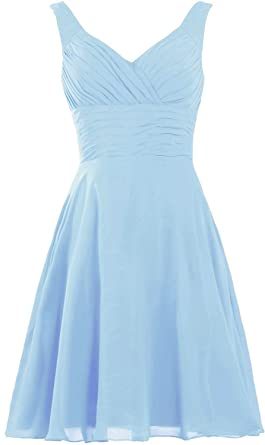 f836cceba22 YanLian Women s Pleated Sweetheart Bridesmaid Dresses A Line Cocktail Gown  Baby Blue US2