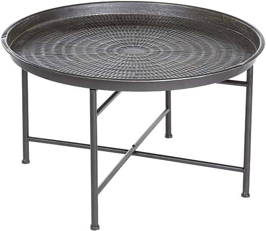 Tavolino Rotondo Con Bordo In Stile Marocchino Colore Grigio Patinato Amazon It Casa E Cucina