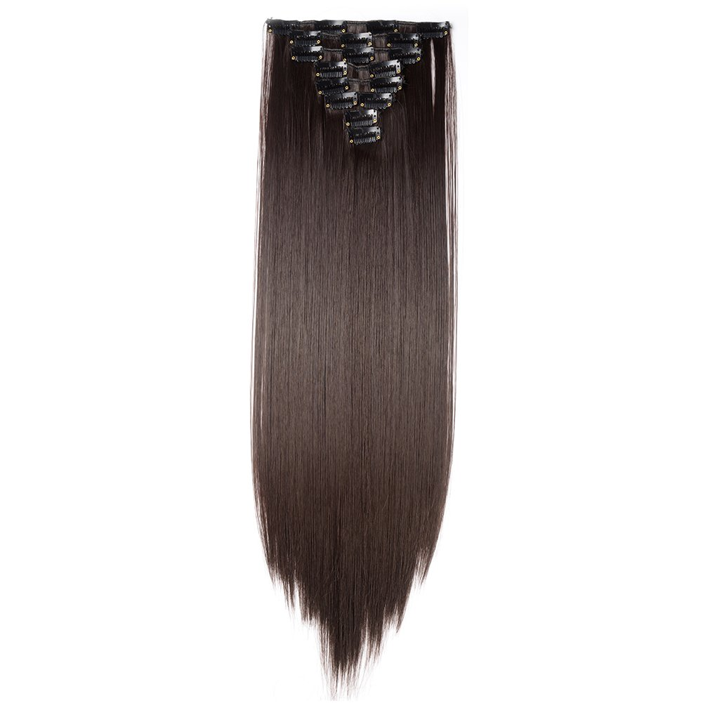 Clip in Hair Extensions Synthetic Full Head Charming Hairpieces Thick Long Straight 8pcs 18clips for Women Girls Lady (26 inches-straight, dark brown)