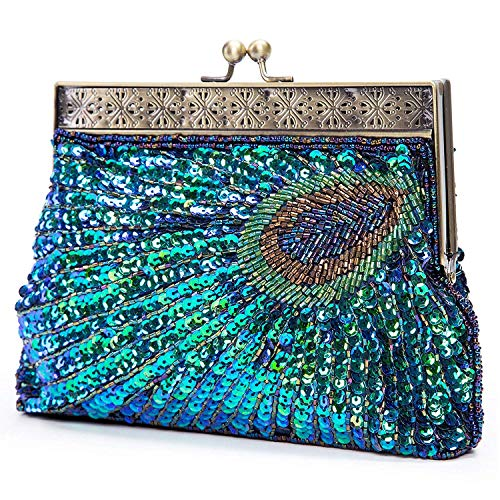Meeto Peacock Tail Vintage Clutch Antique Beaded Sequin Evening Bag Wedding Bridal Party Prom Handbag For Women Girls Ladies (Blue)