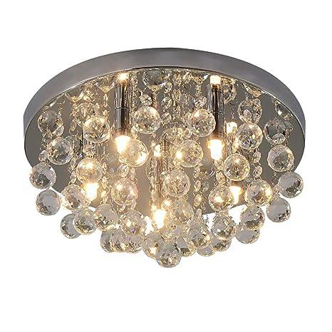 RH RUIVAST Flush Mount Ceiling Light Fixtures Modern K9 Crystal Chandeliers 5 G9 Buld Lamps For Living Room Dining Bedroom Kitchen