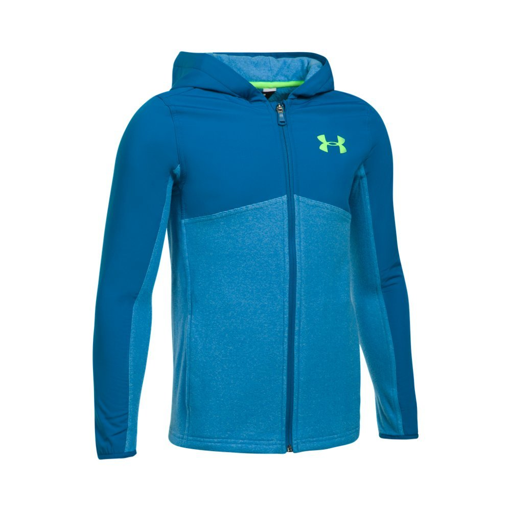 Under Armour Boys' Phenom Full Zip Hoodie,Cruise Blue (899)/Quirky Lime, Youth Medium
