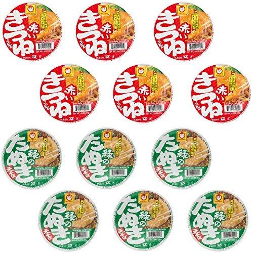 12 pack Akai kitsune Udon (6pack) and Midori no Tanuki Soba (6pack) set by Maruchan