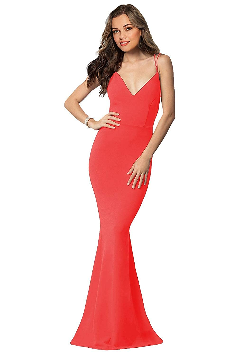 Coral Sulidi Women's Long Sexy Mermaid Prom Dresses Backless Evening Formal Party Ball Gowns