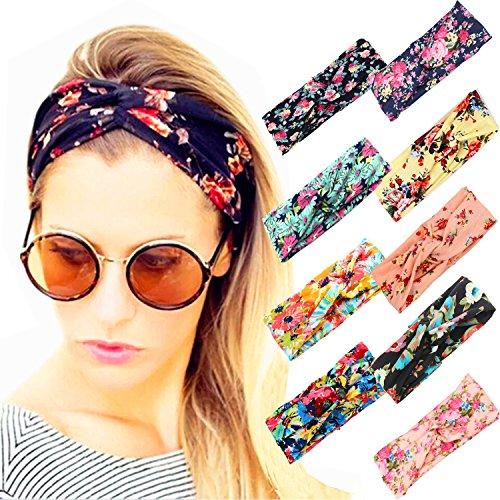 Price comparison product image Adramata 9 Pcs Headbands for Women Girls Wide Boho Knotted Yoga Headband